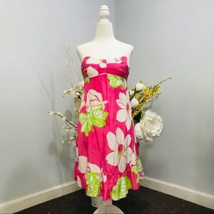 Lilly Pulitzer pink summer strapless dress size 4